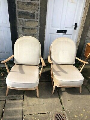 Pair Of Vintage Ercol Windsor 203 Armchairs In Light Wood With Cushions Chair • 525£