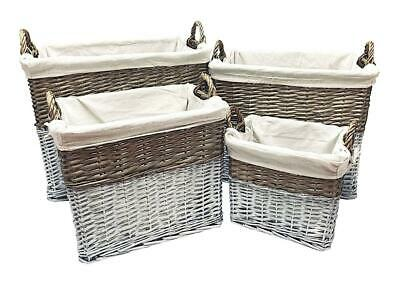 Big Deep Wicker Storage Log Fireplace Hamper Laundry Basket Magazine Rack Lined • 9.99£