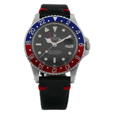 $ CDN16957.97 • Buy Rolex Pepsi GMT-Master 16750 Black Dial Stainless Leather 1984 Men's Watch