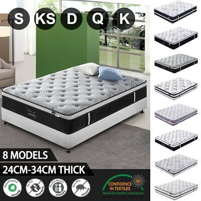 AU152.10 • Buy Queen Double King Single Mattress Bed Euro Top Pocket Spring Latex Chiropractic