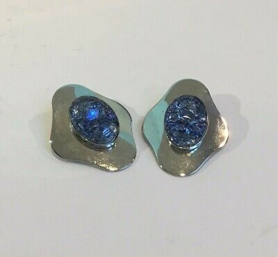 $15.50 • Buy Rare Vintage Sarah Coventry Clip Earrings Cleopatra Collection 1972 Blue Lucite