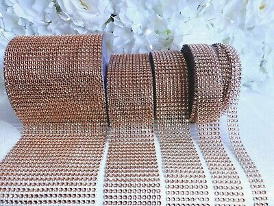 Rose Gold Diamante Effect RibbonTrim Wedding Cake Mesh Wrap Bling Art & Craft • 1.76£