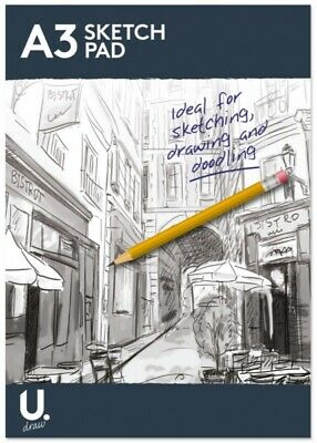 A4 Or A3 Sketch Pad Book White Paper Artist Sketching Drawing Doodling Art Craft • 3.89£