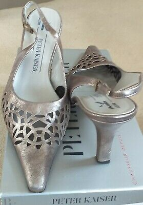 PETER KAISER Pewter Sling Back Shoes Previously Worn UK Size 7/40 • 8.50£