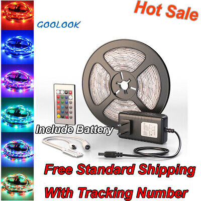 $9.85 • Buy 5M LED Strip Light SMD 2835 RGB+Remote Controller+Power Supply IP20 Waterproof