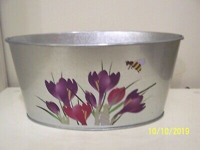Oval Galvanized Tin Planter - Greenbrier - Purple Flowers - NEW • 5.64£