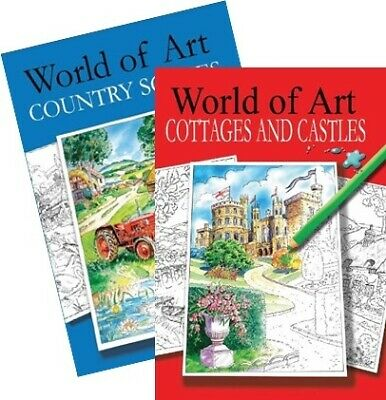 Relaxing Adult Colouring Books World Of Art Country Scenes Cottages Castles • 2.99£
