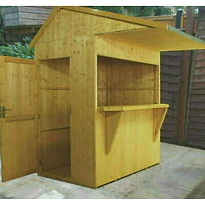 6x4 GARDEN BAR SHED OUTDOOR WOODEN DRINKS HATCH PATIO SHIPLAP TIMBER WOOD STORE • 789.94£