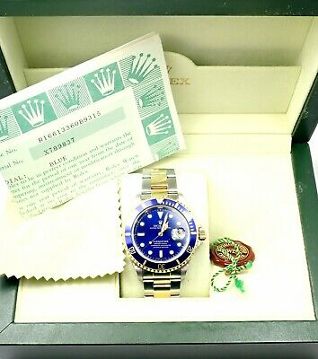 $ CDN13262.83 • Buy Authentic! Submariner Blue Dial 18k Yellow Gold Steel 40mm Watch 16613 Box/Paper