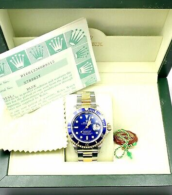 $ CDN15680.77 • Buy Rolex Submariner Blue Dial 18k Yellow Gold Steel 40mm Watch 16613 Box/Paper