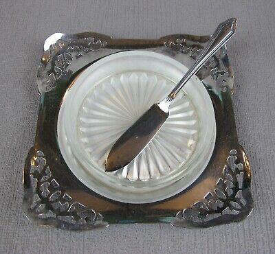 Superb Vintage Silver Plated Butter / Caviar Dish With Glass Insert & Knife.  • 14.99£