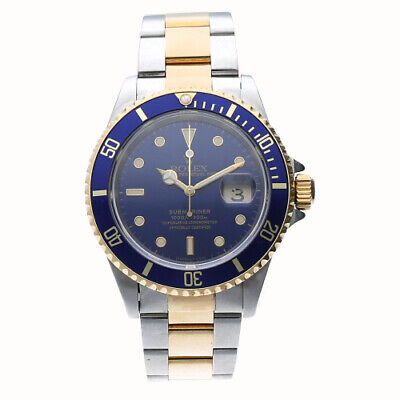 $ CDN11496.71 • Buy Rolex Submariner 16613 40mm Blue Dial 18K Gold/Steel Automatic Men's Watch