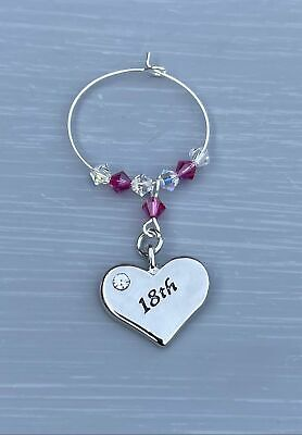 18th Heart Wine Glass Charm - Birthday Gifts - Swarovski - Gift For Her • 6.50£