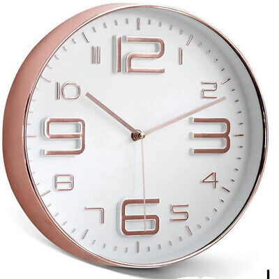 AU21.95 • Buy Modern Quartz Wall Clock Analogue Round For Home Decor Kitchen Office Rose Gold