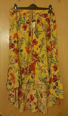 PRIMARK Yellow Floral Flamenco Gipsy Boho Ethnic Viscose Skirt Size 14, With Tag • 4.50£