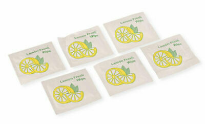 Small Lemon Scented Wet Wipes Napkins Individually Wrapped Take Away Restaurant • 5.99£