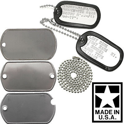$12.99 • Buy Custom Printed Dog Tags Personalized Military GI Army ID Dogtags Set Made In USA
