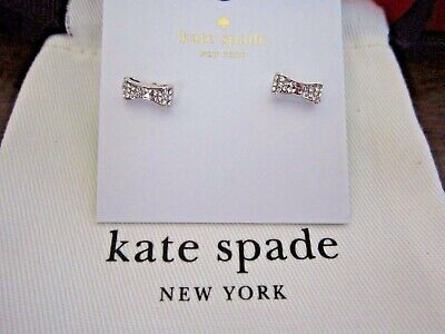 $ CDN33.52 • Buy Kate Spade New York Pave Bow Stud Earrings Silver Tone New W/Pouch/Box