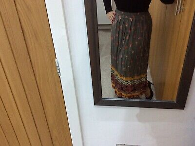 Skirt Vintage Hippie Long Elastic Waist Pleated Ethnic 16 44 Or 18 Made In UK • 5.50£