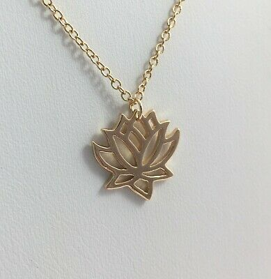 $ CDN19.57 • Buy Lotus Flower Nature Necklace Yellow Gold Tone Symbol Of Purity Self-regeneration