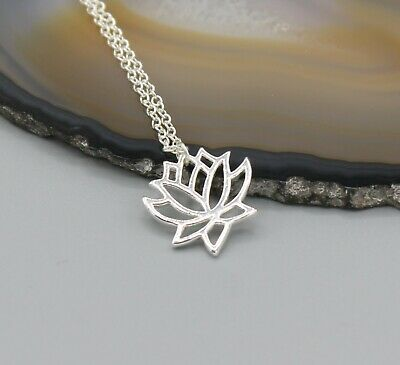 $ CDN19.57 • Buy Lotus Flower Nature Necklace Silver Tone Symbol Of Purity Self-regeneration