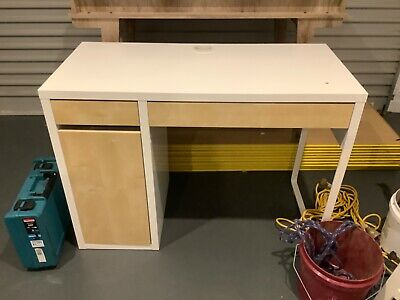 AU15.50 • Buy IKEA 302.130.76 MICKE Desk With Drawer - White With Wood Panels