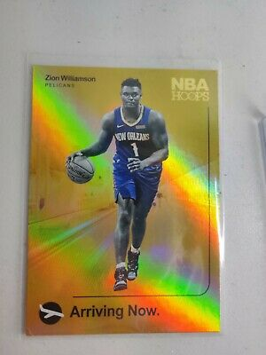 $99 • Buy 2019-20 Panini Nba Hoops Zion Williamson Arriving Now Gold Foil Holo Rookie Rc