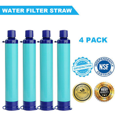 $47.49 • Buy 4 PA Portable Water Filter Straw Filtration Purifier Survival Gear For Drinking
