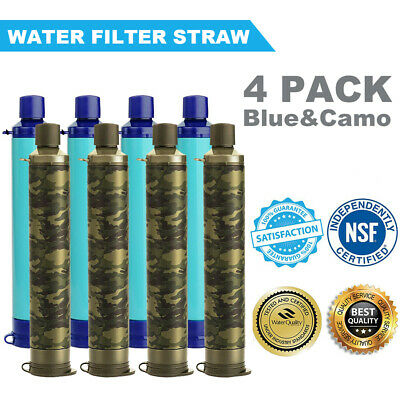 $47.49 • Buy 4 Packs Portable Water Filter Straw Sucking Purifier Emergency Outdoor 99.999%