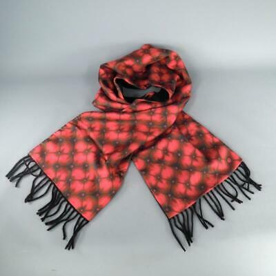 AU279.79 • Buy ALEXANDER MCQUEEN Red Tufted Print Satin Fringe Scarf
