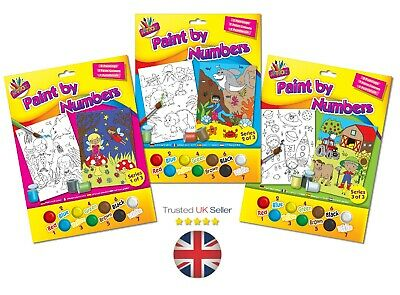 Childrens Or Adults A4 Paint By Numbers Kids Home School Painting Brush Craft UK • 3.87£