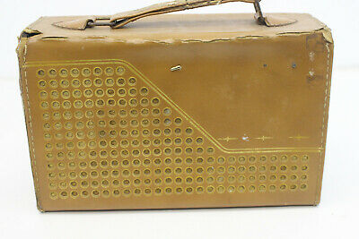 $ CDN26.63 • Buy Vintage Silvertone Tube AM Radio Cat No. 9222 Brown Leather Case Portable