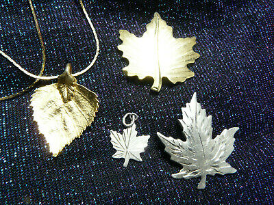 $ CDN21.15 • Buy Leaf Jewelry Lot, Sterling Silver Pieces Etc.