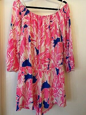 $44.99 • Buy Lilly Pulitzer Lana Tiki Pink Beach Off Shoulder Jersy Knit Long Sleeve Romper M
