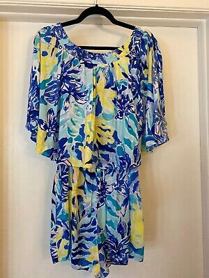 $44.99 • Buy Lilly Pulitzer Arbelle Silky Romper With Cape Off Shoulder M Blue & Yellow