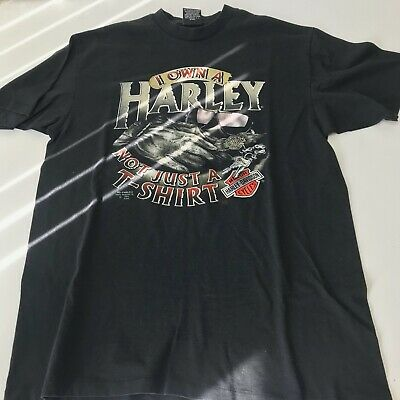 $ CDN120.65 • Buy Vintage Harley Davidson 3D Emblem I Own A Harley Not Just A T Shirt Shirt XL