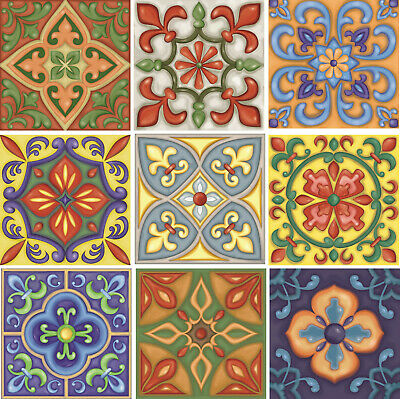 £5.99 • Buy Traditional Tile Transfers Stickers Wall Vintage Victorian Moroccan Retro Mosaic