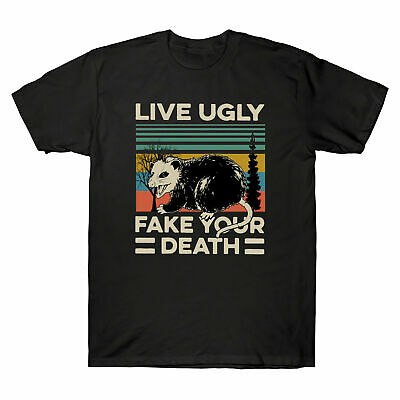 $ CDN31.10 • Buy Vintage Men T-Shirt Live Ugly Fake Your Death Cool Angry Opossum Black T-Shirt