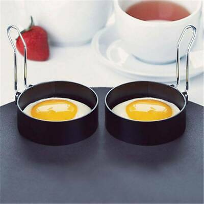 $2.27 • Buy Metal Egg Frying Rings Mould Circle Fried/Poach Mould + Handle Non Stick Black
