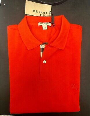 $69 • Buy Burberry Brit Polo Shirt Long Sleeve- Bright Rowanberry 3872759- Size Large