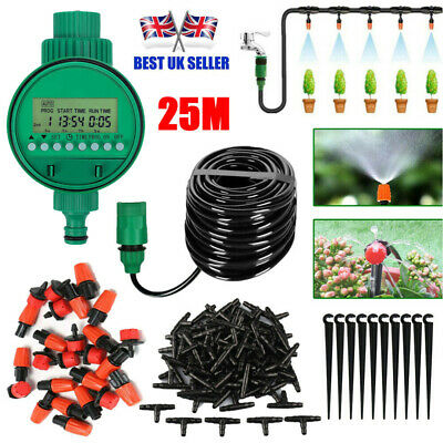 £18.99 • Buy 25M Garden Plant Automatic Drip Irrigation System Kit Timer Self Watering Hose