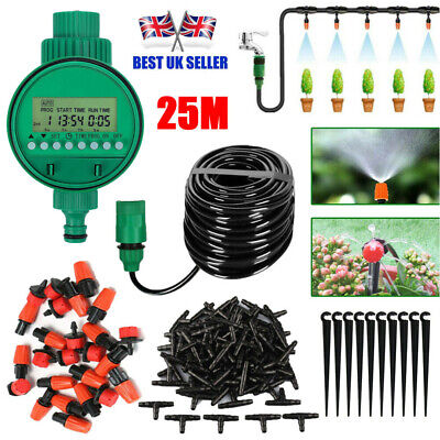 25M Garden Plant Automatic Drip Irrigation System Kit Timer Self Watering Hose • 15.99£