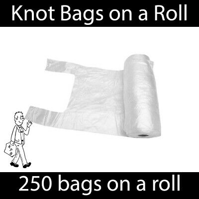 Knot Bags On A Roll Tie Handle - Food / Fruit / Vegetable / Meat Bag Supermarket • 5.49£