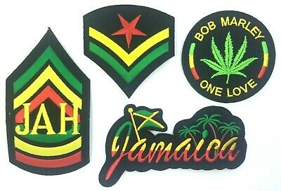 RASTA PATCH; Jamaica, Jah, Bob Marley, Stripes *SEW-ON/IRON-ON* One Love, Reggae • 2.39£