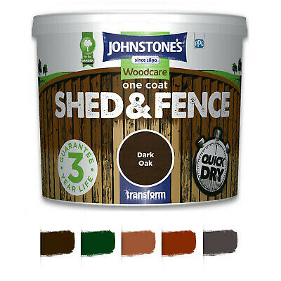 5L/9L Johnstones Woodcare One Coat Shed And Fence Paint Garden UV Protection UK • 14.99£