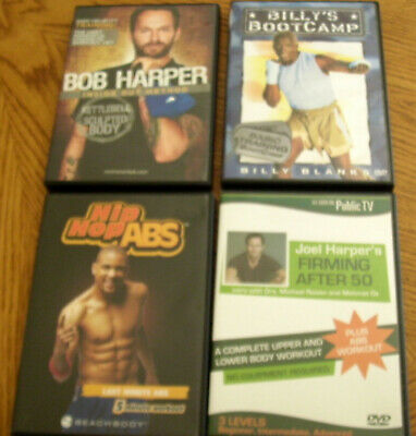 Lot Of 4 DVDs - Bob Harper Kettlebell, Firming After 50, Hip Hop Abs, Billy's Bo • 9.81£