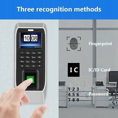 Time Clock Biometric Fingerprint Employees Attendence Recoder Mahcine 2.4in LCD • 30.41£