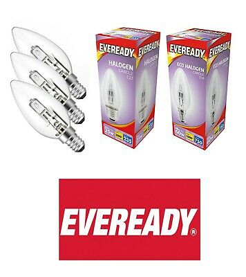 Eveready Halogen Candle Bulbs 20w = 25W WATT BC SBC B22 B15 ES E27 2700k • 6.99£
