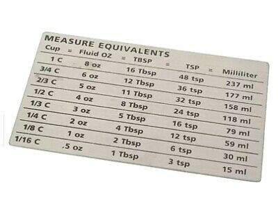 $11.50 • Buy Amco Measure Equivalents Magnet Easily Convert Cup Measurements Stainless Steel