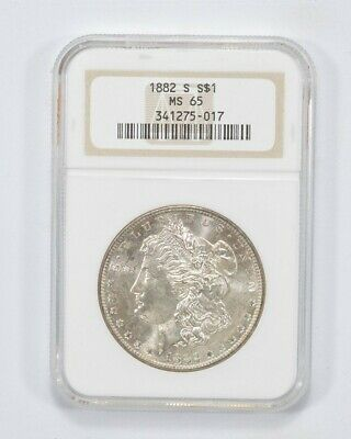 $46 • Buy RARE MS-65 1882-S Morgan Silver Dollar Graded NGC High Grade Choice Unc *984